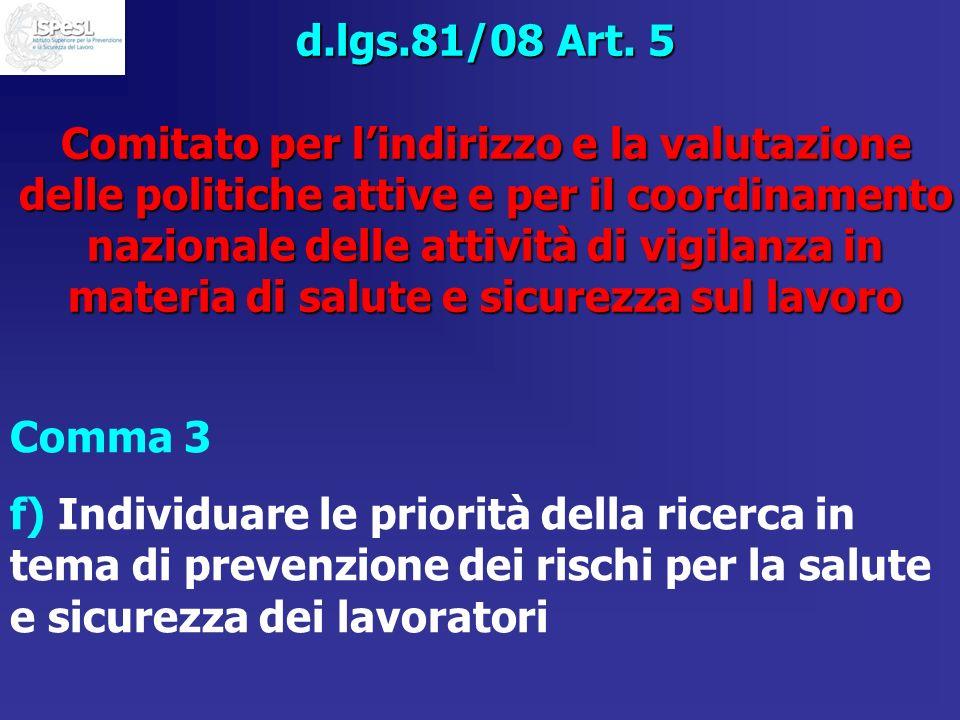 d.lgs.81/08 Art. 5 Comitato per lindirizzo e la valutazione delle politiche attive e per il coordinamento nazionale delle attività di vigilanza in mat
