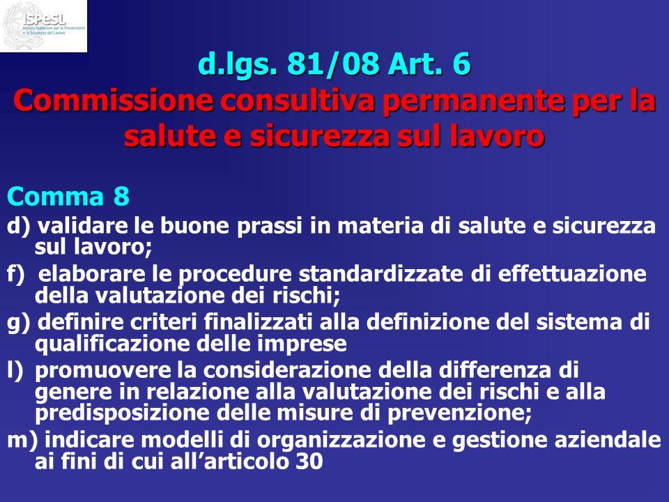 d.lgs. 81/08 Art. 6 Commissione consultiva permanente per la salute e sicurezza sul lavoro Comma 8 d) validare le buone prassi in materia di salute e