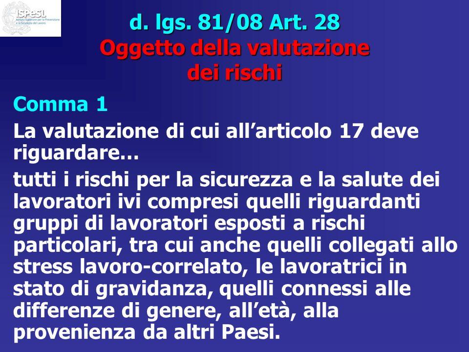 d. lgs. 81/08 Art. 28 Oggetto della valutazione dei rischi Comma 1 La valutazione di cui allarticolo 17 deve riguardare… tutti i rischi per la sicurez