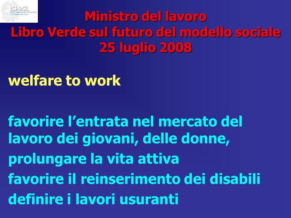 Ministro del lavoro Libro Verde sul futuro del modello sociale 25 luglio 2008 welfare to work favorire lentrata nel mercato del lavoro dei giovani, de