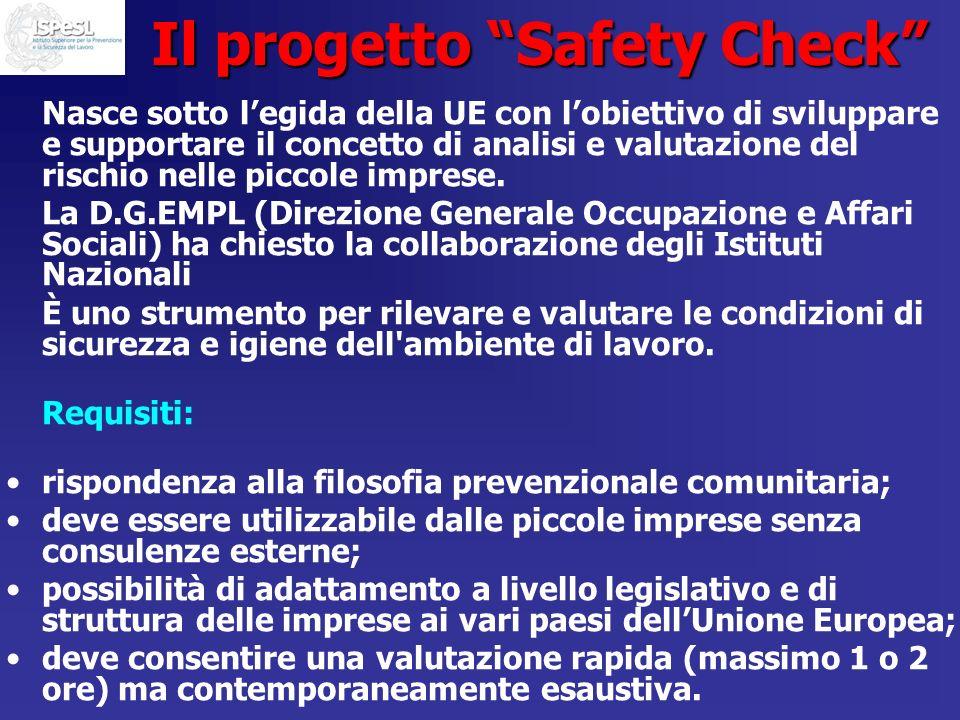 Il progetto Safety Check Nasce sotto legida della UE con lobiettivo di sviluppare e supportare il concetto di analisi e valutazione del rischio nelle