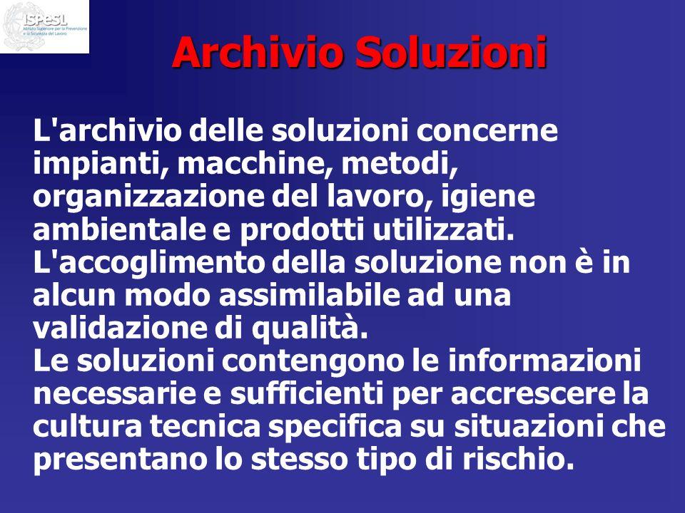 Archivio Soluzioni L'archivio delle soluzioni concerne impianti, macchine, metodi, organizzazione del lavoro, igiene ambientale e prodotti utilizzati.