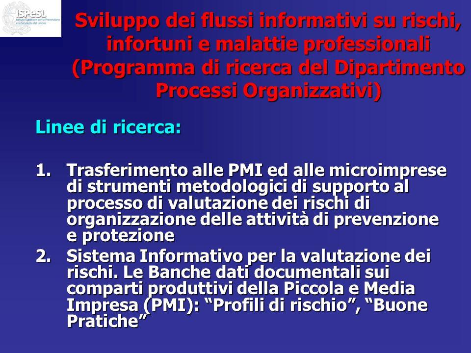 Sviluppo dei flussi informativi su rischi, infortuni e malattie professionali (Programma di ricerca del Dipartimento Processi Organizzativi) Linee di