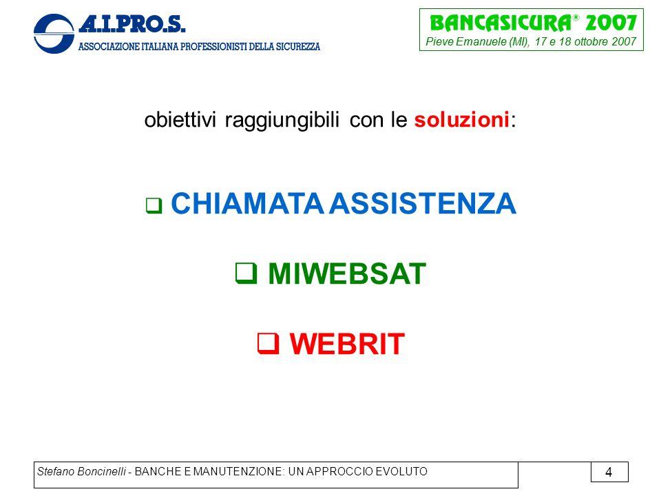 Pieve Emanuele (MI), 17 e 18 ottobre 2007 Stefano Boncinelli - BANCHE E MANUTENZIONE: UN APPROCCIO EVOLUTO 4 obiettivi raggiungibili con le soluzioni: CHIAMATA ASSISTENZA MIWEBSAT WEBRIT