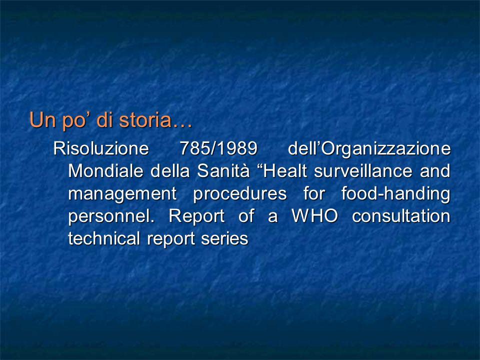 Un po di storia… Risoluzione 785/1989 dellOrganizzazione Mondiale della Sanità Healt surveillance and management procedures for food-handing personnel.