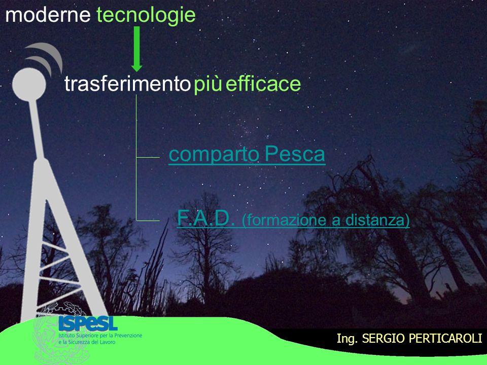 Ing. SERGIO PERTICAROLI moderne tecnologie comparto Pesca F.A.D. (formazione a distanza) trasferimento più efficace