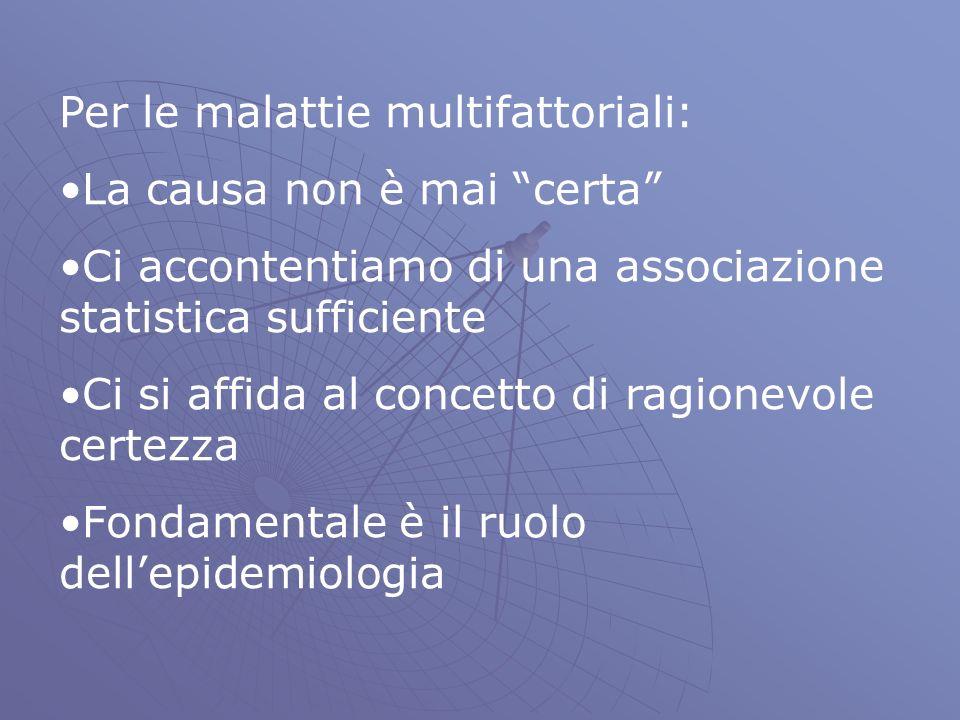 Per le malattie multifattoriali: La causa non è mai certa Ci accontentiamo di una associazione statistica sufficiente Ci si affida al concetto di ragionevole certezza Fondamentale è il ruolo dellepidemiologia