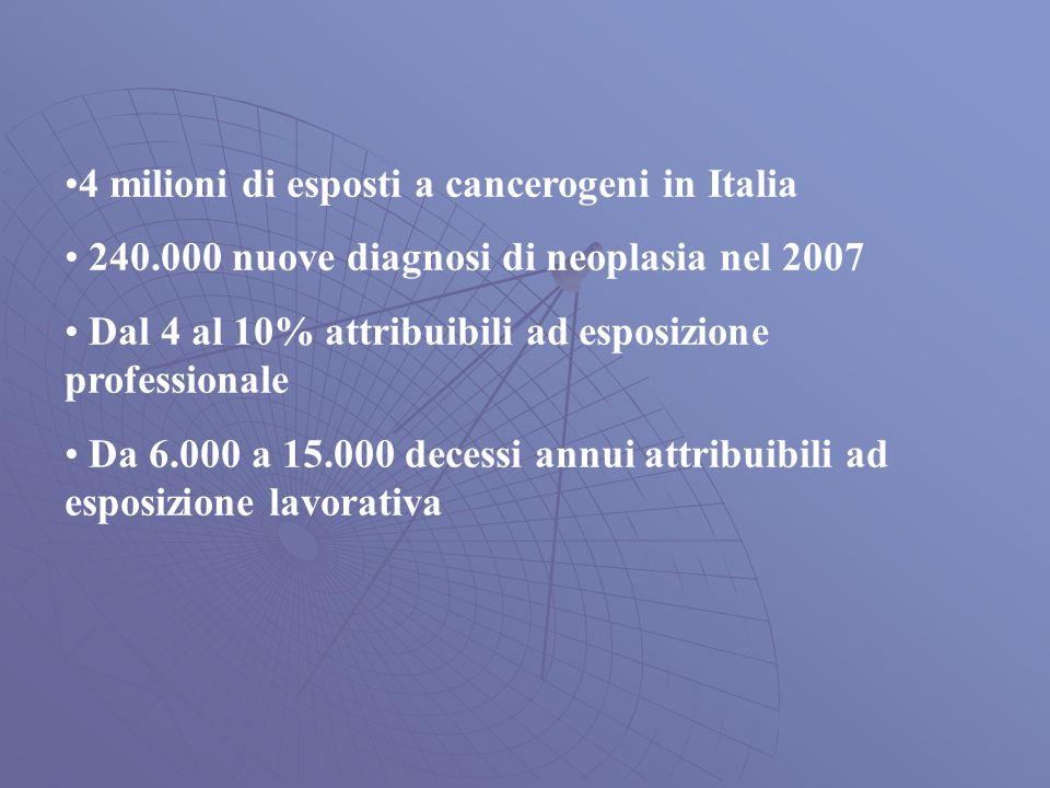 4 milioni di esposti a cancerogeni in Italia 240.000 nuove diagnosi di neoplasia nel 2007 Dal 4 al 10% attribuibili ad esposizione professionale Da 6.000 a 15.000 decessi annui attribuibili ad esposizione lavorativa