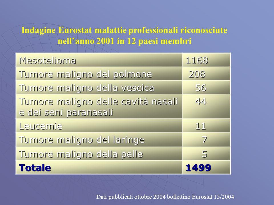 Indagine Eurostat malattie professionali riconosciute nellanno 2001 in 12 paesi membri Mesotelioma1168 Tumore maligno del polmone 208 208 Tumore maligno della vescica 56 56 Tumore maligno delle cavità nasali e dei seni paranasali 44 44 Leucemie 11 11 Tumore maligno del laringe 7 Tumore maligno della pelle 5 Totale1499 Dati pubblicati ottobre 2004 bollettino Eurostat 15/2004