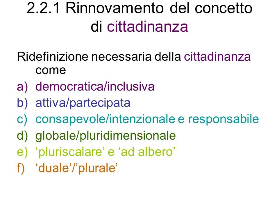 2.2.1 Rinnovamento del concetto di cittadinanza Ridefinizione necessaria della cittadinanza come a)democratica/inclusiva b)attiva/partecipata c)consapevole/intenzionale e responsabile d)globale/pluridimensionale e)pluriscalare e ad albero f)duale/plurale