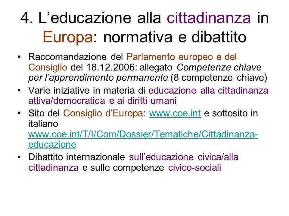 4. Leducazione alla cittadinanza in Europa: normativa e dibattito Raccomandazione del Parlamento europeo e del Consiglio del 18.12.2006: allegato Comp