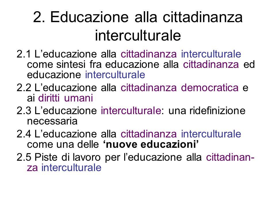 2. Educazione alla cittadinanza interculturale 2.1 Leducazione alla cittadinanza interculturale come sintesi fra educazione alla cittadinanza ed educa