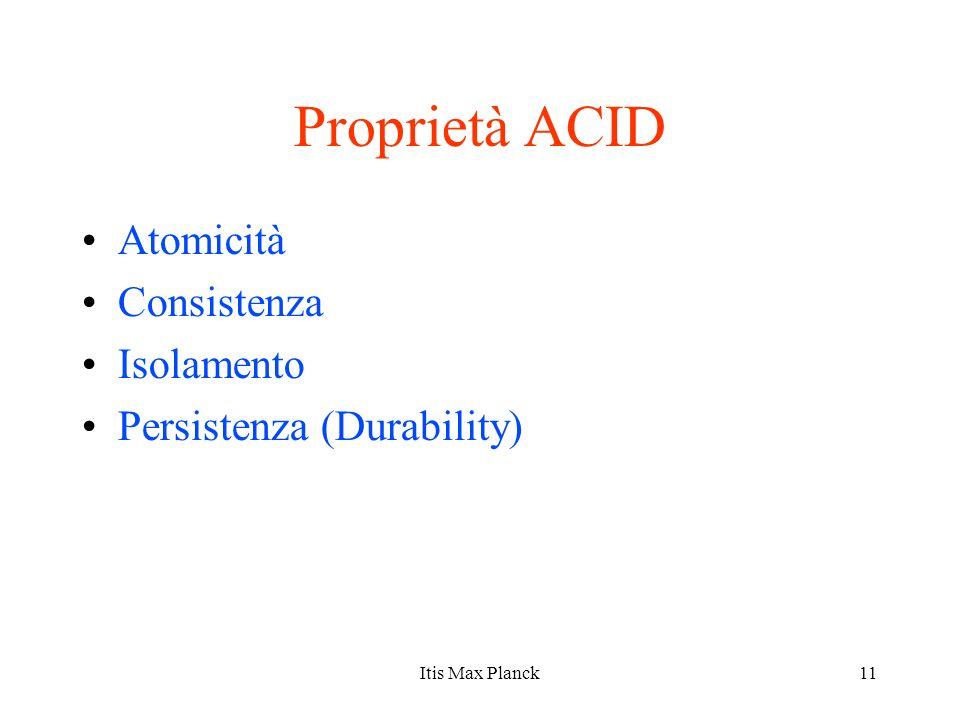 11 Proprietà ACID Atomicità Consistenza Isolamento Persistenza (Durability) Itis Max Planck