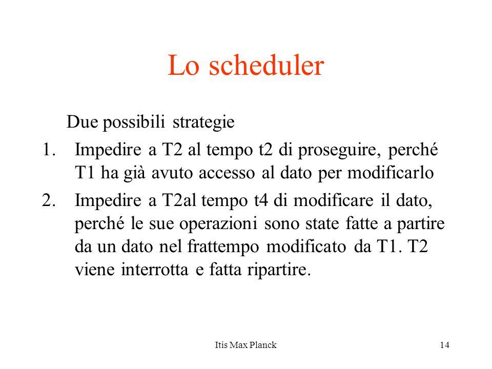 14 Lo scheduler Due possibili strategie 1.Impedire a T2 al tempo t2 di proseguire, perché T1 ha già avuto accesso al dato per modificarlo 2.Impedire a