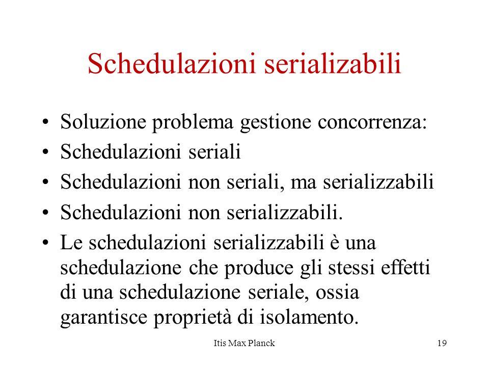 Schedulazioni serializabili Soluzione problema gestione concorrenza: Schedulazioni seriali Schedulazioni non seriali, ma serializzabili Schedulazioni