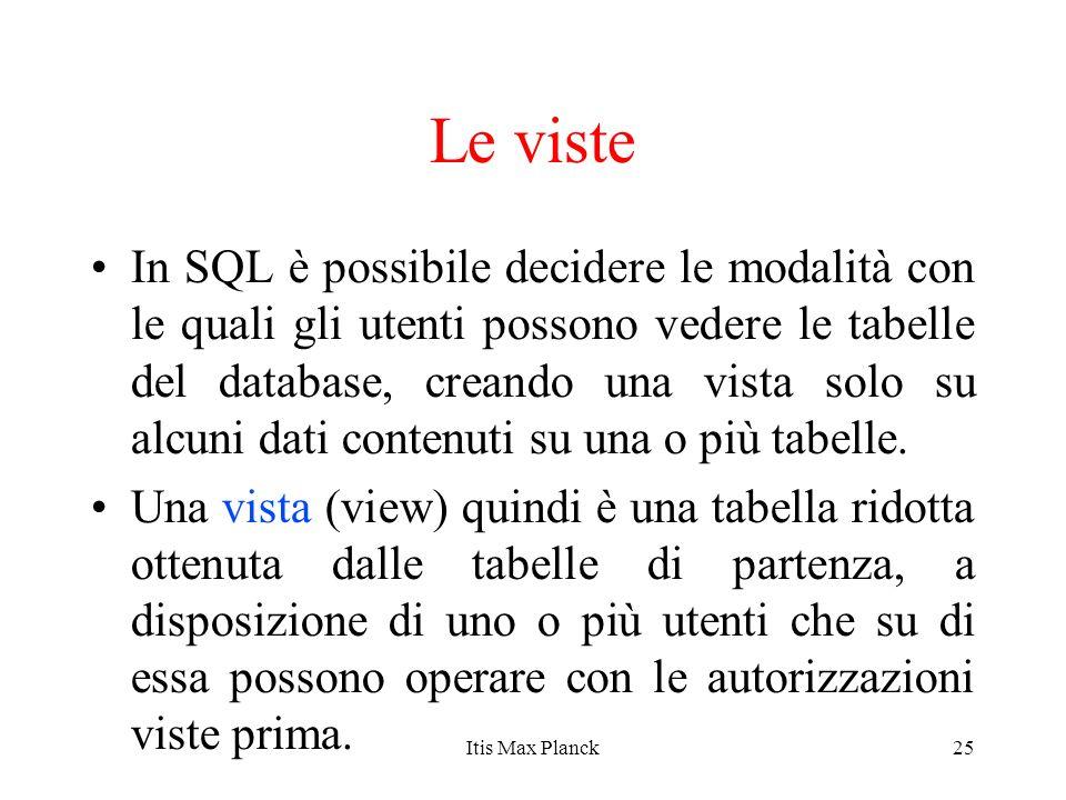 25 Le viste In SQL è possibile decidere le modalità con le quali gli utenti possono vedere le tabelle del database, creando una vista solo su alcuni d