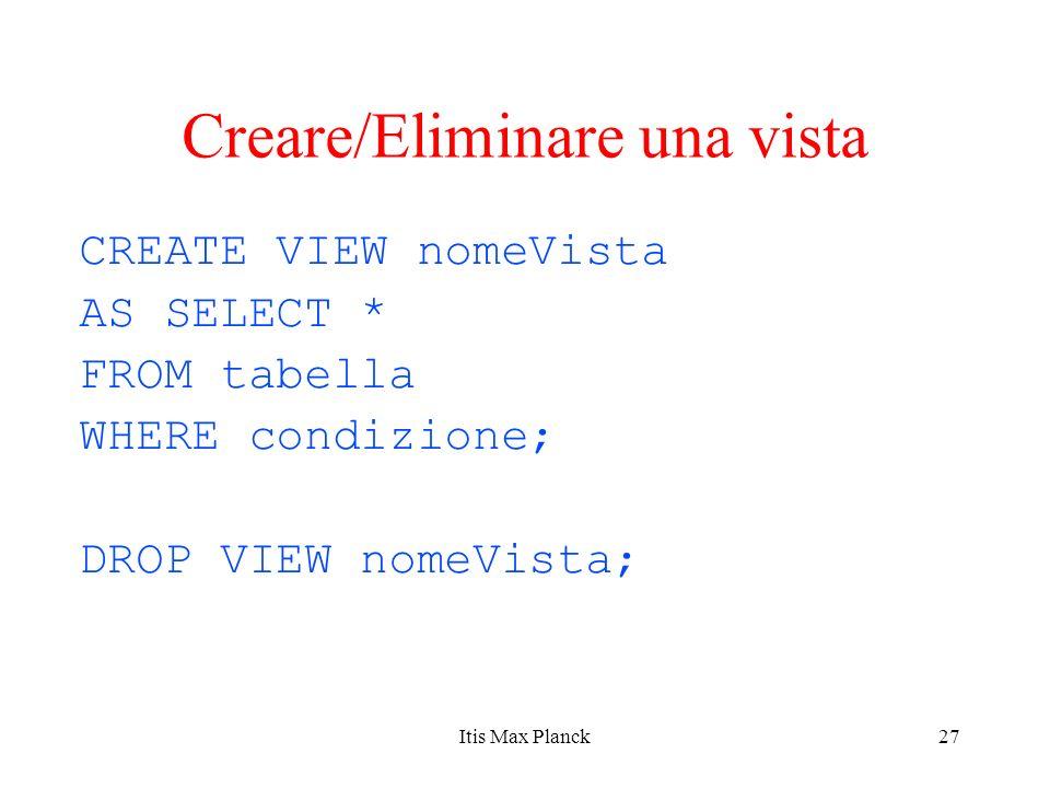 27 Creare/Eliminare una vista CREATE VIEW nomeVista AS SELECT * FROM tabella WHERE condizione; DROP VIEW nomeVista; Itis Max Planck