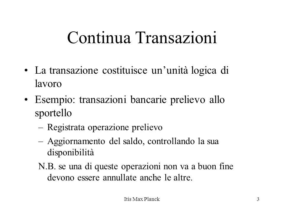 3 Continua Transazioni La transazione costituisce ununità logica di lavoro Esempio: transazioni bancarie prelievo allo sportello –Registrata operazion