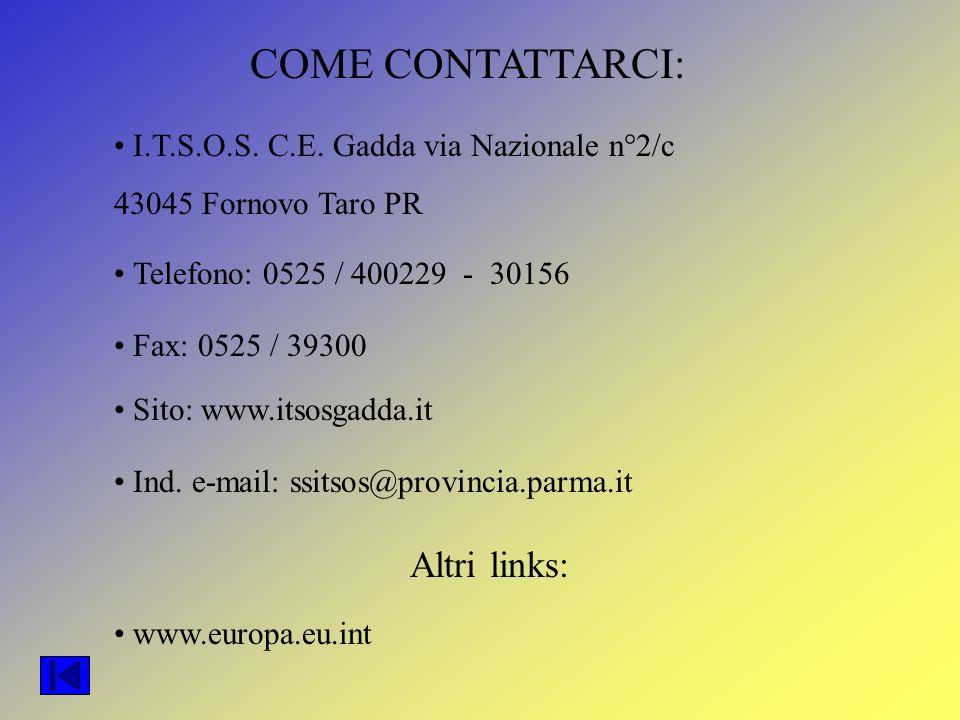 COME CONTATTARCI: I.T.S.O.S. C.E. Gadda via Nazionale n°2/c 43045 Fornovo Taro PR Telefono: 0525 / 400229 - 30156 Fax: 0525 / 39300 Sito: www.itsosgad