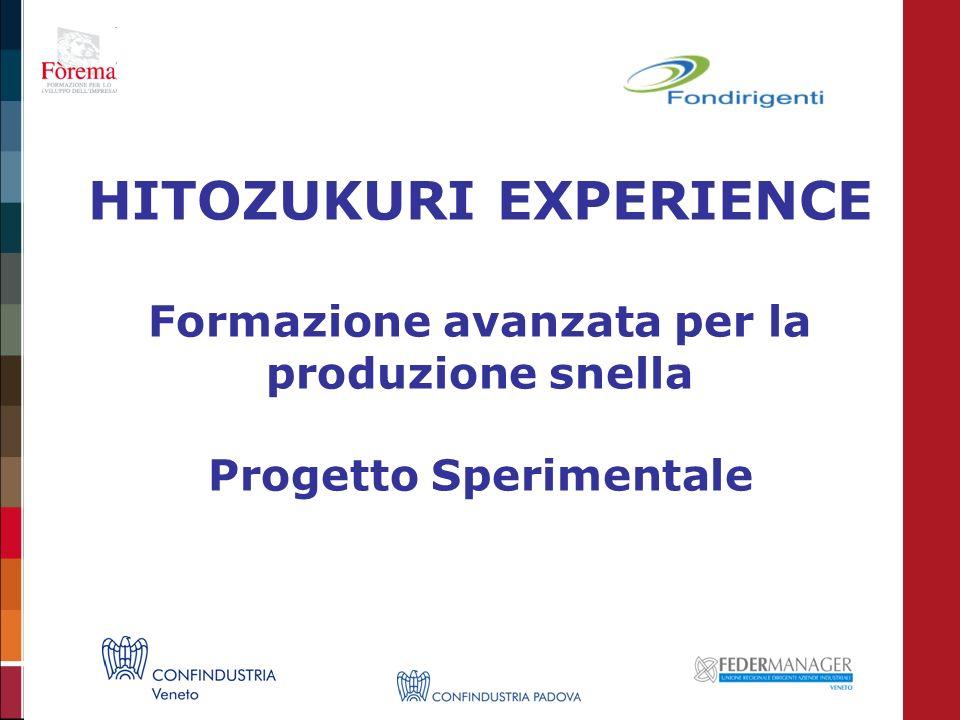 HITOZUKURI EXPERIENCE Formazione avanzata per la produzione snella Progetto Sperimentale