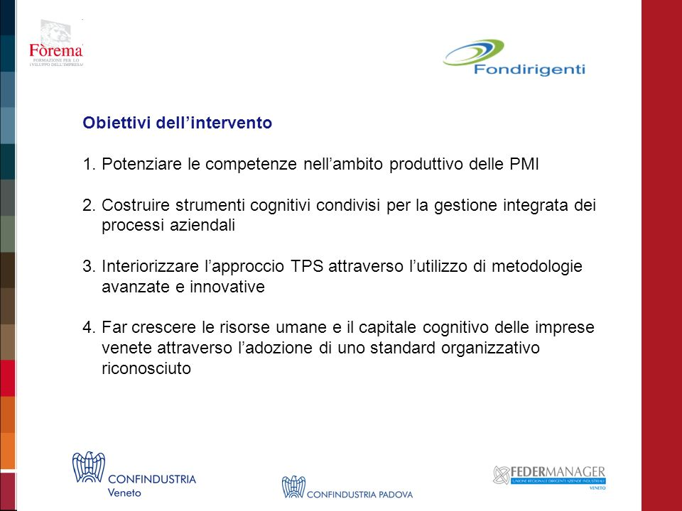 Obiettivi dellintervento 1. Potenziare le competenze nellambito produttivo delle PMI 2. Costruire strumenti cognitivi condivisi per la gestione integr