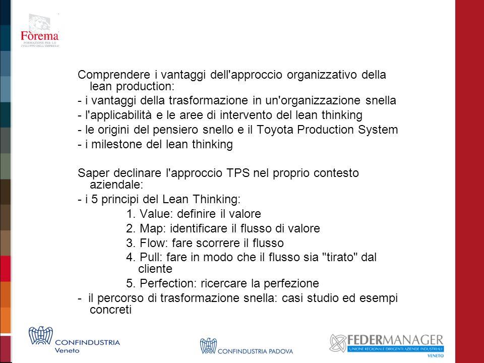Comprendere i vantaggi dell'approccio organizzativo della lean production: - i vantaggi della trasformazione in un'organizzazione snella - l'applicabi