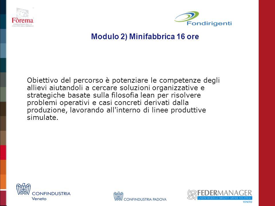 Modulo 2) Minifabbrica 16 ore Obiettivo del percorso è potenziare le competenze degli allievi aiutandoli a cercare soluzioni organizzative e strategic