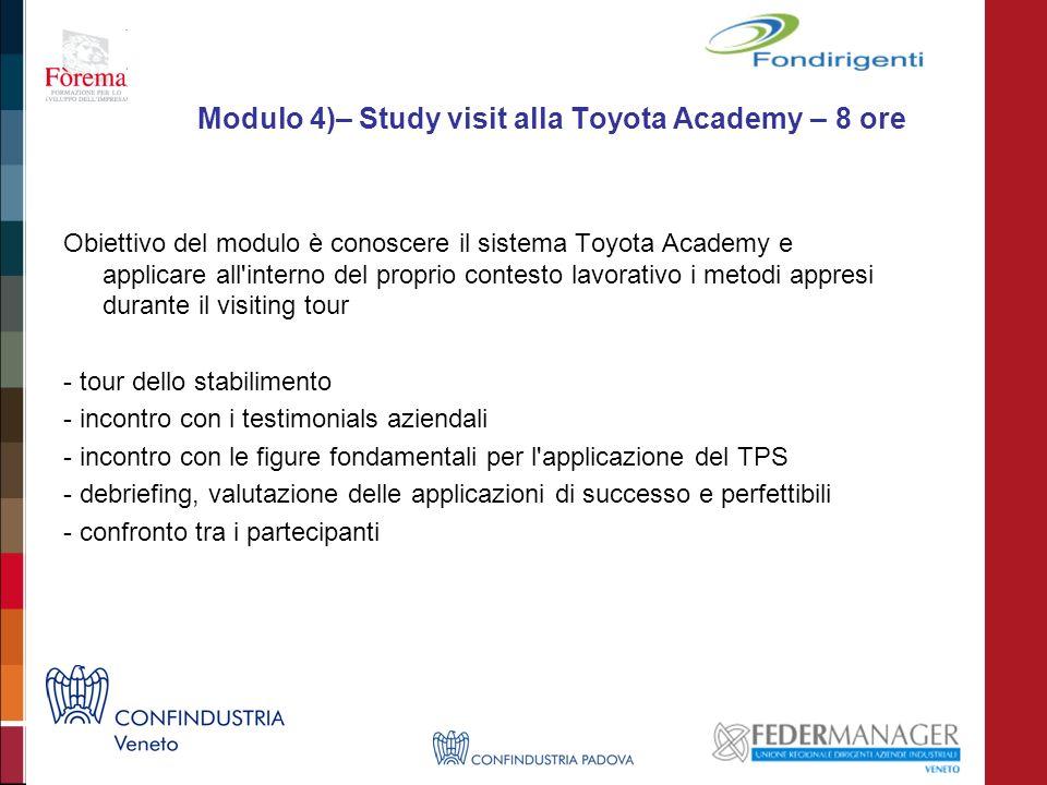 Modulo 4)– Study visit alla Toyota Academy – 8 ore Obiettivo del modulo è conoscere il sistema Toyota Academy e applicare all'interno del proprio cont