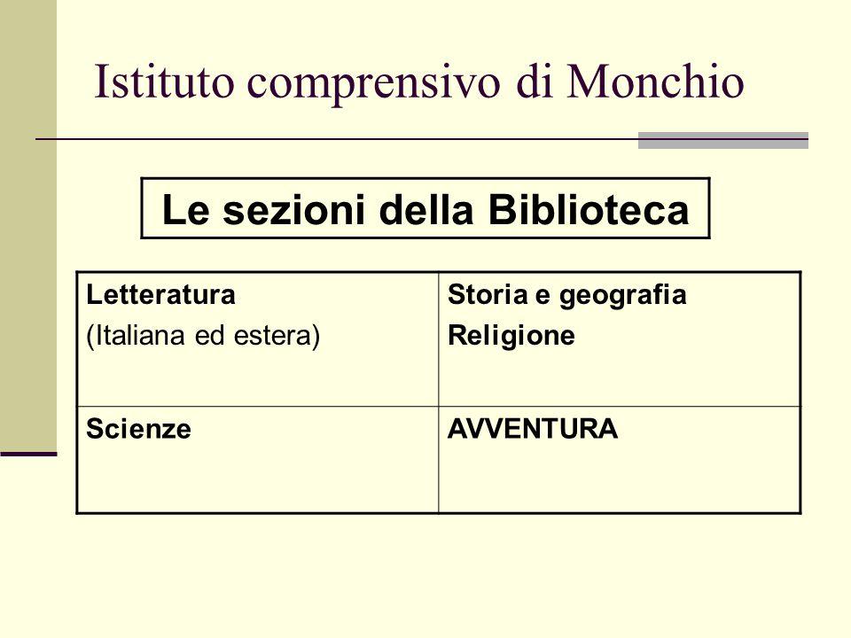 Istituto comprensivo di Monchio Letteratura (Italiana ed estera) Storia e geografia Religione ScienzeAVVENTURA Le sezioni della Biblioteca