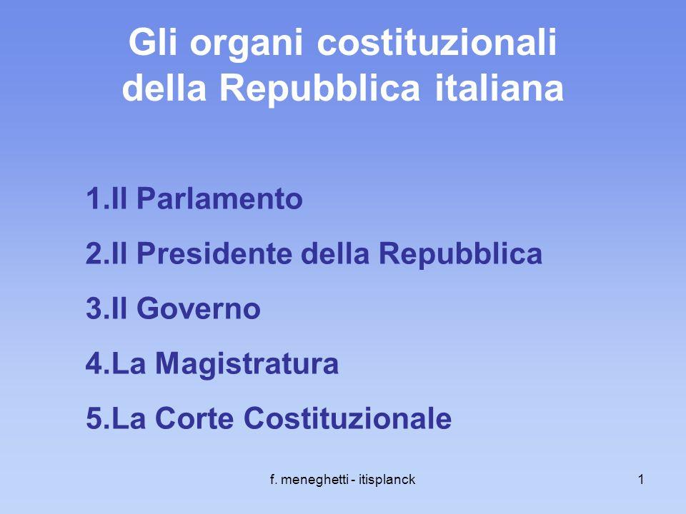 f. meneghetti - itisplanck1 Gli organi costituzionali della Repubblica italiana 1.Il Parlamento 2.Il Presidente della Repubblica 3.Il Governo 4.La Mag
