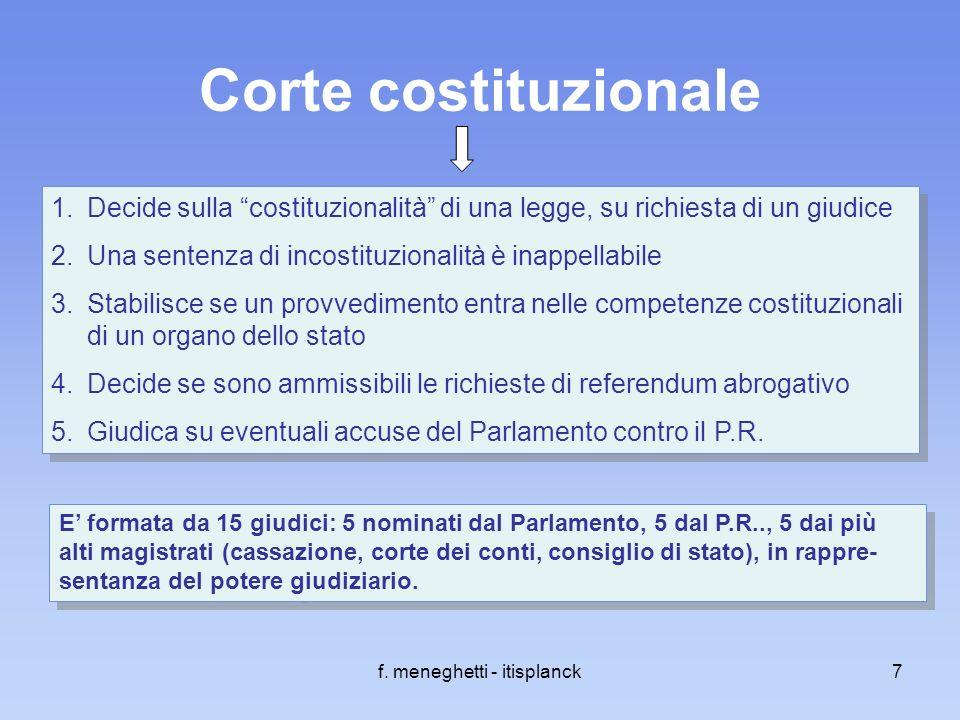 f. meneghetti - itisplanck7 Corte costituzionale 1.Decide sulla costituzionalità di una legge, su richiesta di un giudice 2.Una sentenza di incostituz
