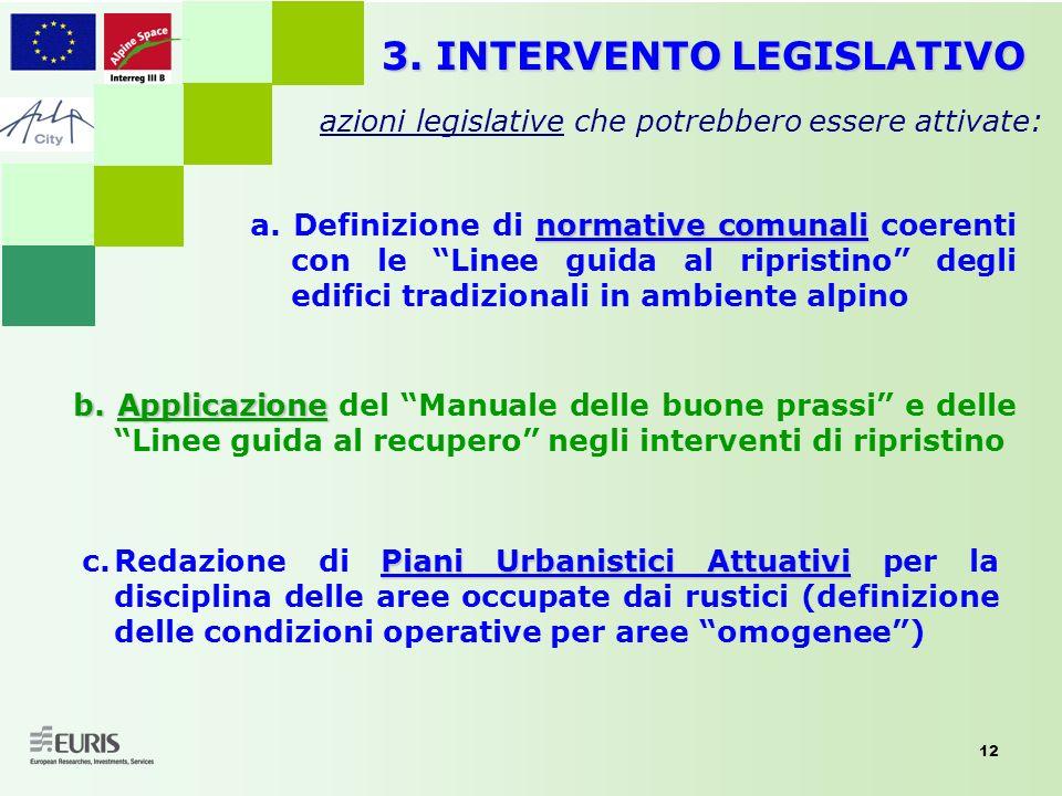 12 3. INTERVENTO LEGISLATIVO azioni legislative che potrebbero essere attivate: Piani Urbanistici Attuativi c.Redazione di Piani Urbanistici Attuativi
