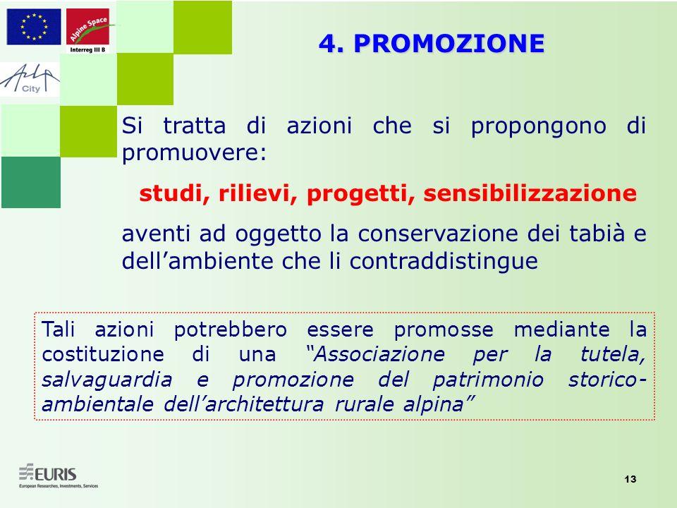 13 4. PROMOZIONE Si tratta di azioni che si propongono di promuovere: studi, rilievi, progetti, sensibilizzazione aventi ad oggetto la conservazione d