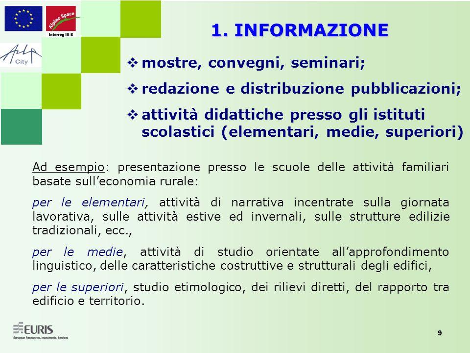 9 1. INFORMAZIONE mostre, convegni, seminari; redazione e distribuzione pubblicazioni; attività didattiche presso gli istituti scolastici (elementari,