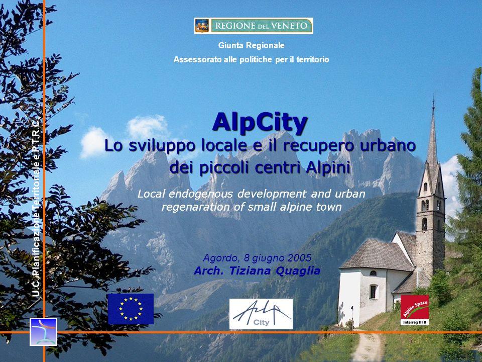 1 AlpCity Lo sviluppo locale e il recupero urbano dei piccoli centri Alpini Agordo, 8 giugno 2005 Arch.