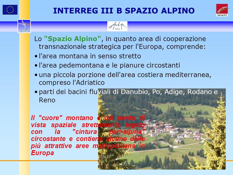 4 Lo Spazio Alpino , in quanto area di cooperazione transnazionale strategica per l Europa, comprende: l area montana in senso stretto l area pedemontana e le pianure circostanti una piccola porzione dell area costiera mediterranea, compreso l Adriatico parti dei bacini fluviali di Danubio, Po, Adige, Rodano e Reno INTERREG III B SPAZIO ALPINO Il cuore montano è dal punto di vista spaziale strettamente legato con la cintura peri-alpina circostante e contiene alcune delle più attrattive aree metropolitane in Europa