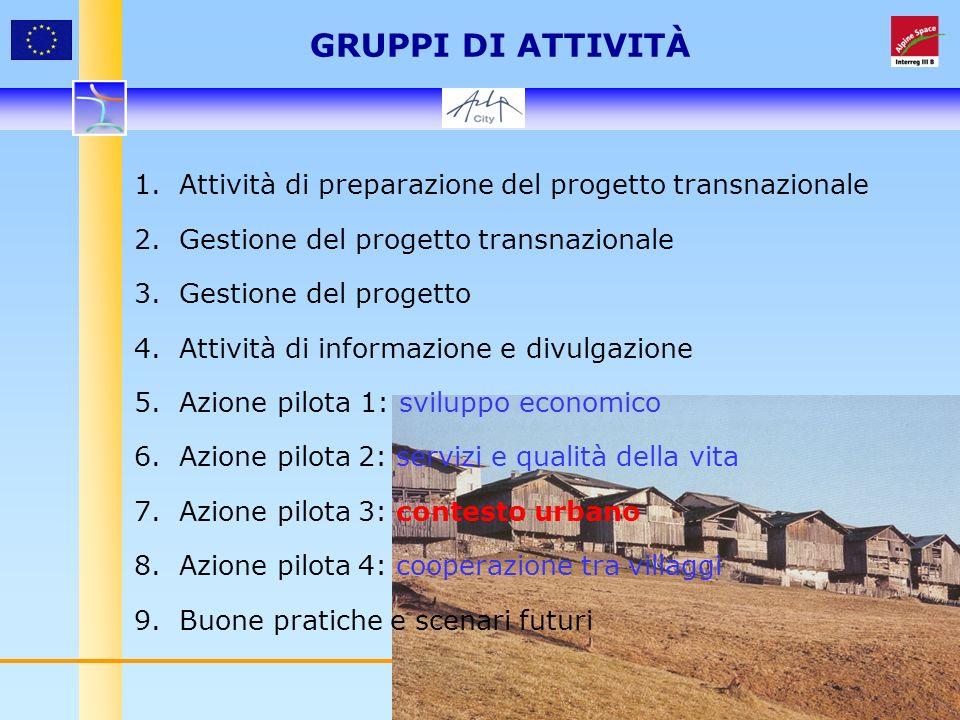 9 GRUPPI DI ATTIVITÀ 1. Attività di preparazione del progetto transnazionale 2.