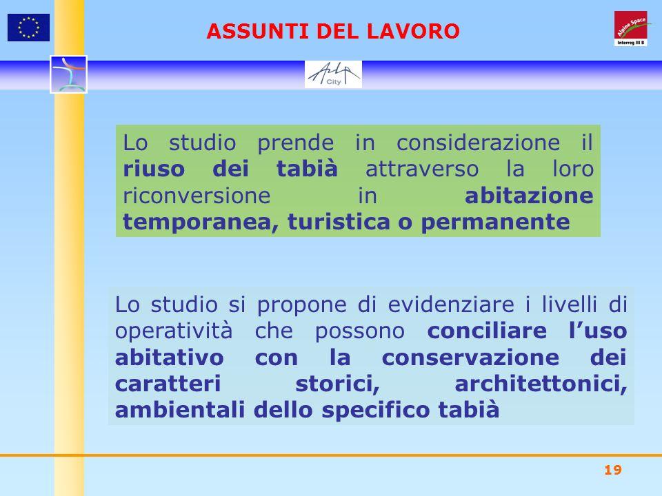 19 Lo studio prende in considerazione il riuso dei tabià attraverso la loro riconversione in abitazione temporanea, turistica o permanente Lo studio s
