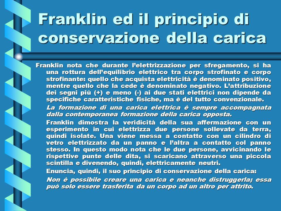Franklin ed il principio di conservazione della carica Franklin nota che durante lelettrizzazione per sfregamento, si ha una rottura dellequilibrio el