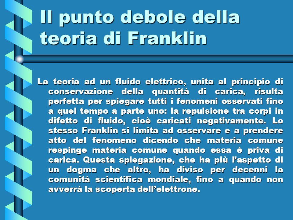 Il punto debole della teoria di Franklin La teoria ad un fluido elettrico, unita al principio di conservazione della quantità di carica, risulta perfe