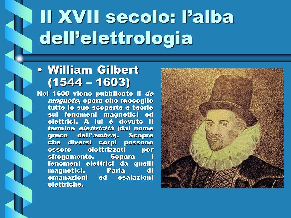Il XVII secolo: lalba dellelettrologia William Gilbert (1544 – 1603)William Gilbert (1544 – 1603) Nel 1600 viene pubblicato il de magnete, opera che r