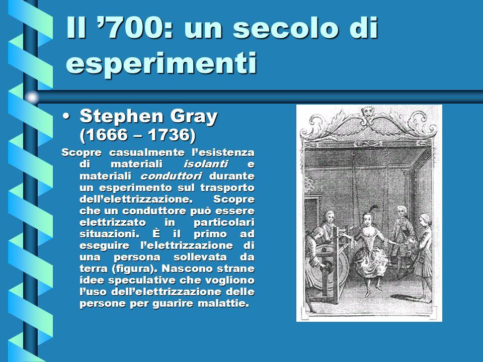 Il 700: un secolo di esperimenti Stephen Gray (1666 – 1736)Stephen Gray (1666 – 1736) Scopre casualmente lesistenza di materiali isolanti e materiali