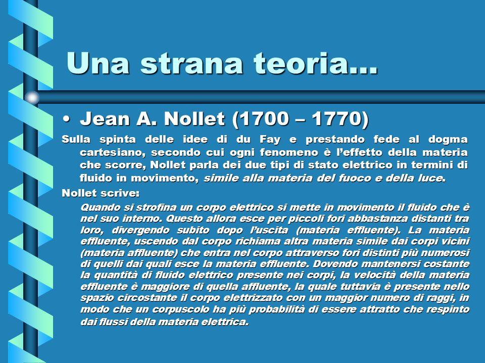 Una strana teoria… Jean A. Nollet (1700 – 1770)Jean A. Nollet (1700 – 1770) Sulla spinta delle idee di du Fay e prestando fede al dogma cartesiano, se