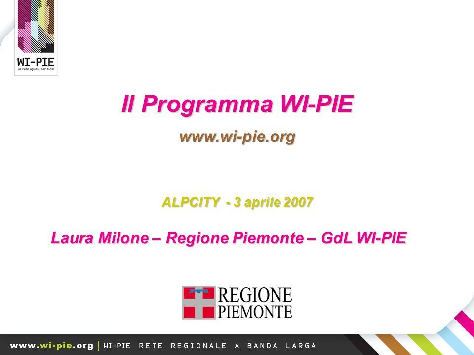 Il Programma WI-PIE www.wi-pie.org ALPCITY - 3 aprile 2007 Laura Milone – Regione Piemonte – GdL WI-PIE