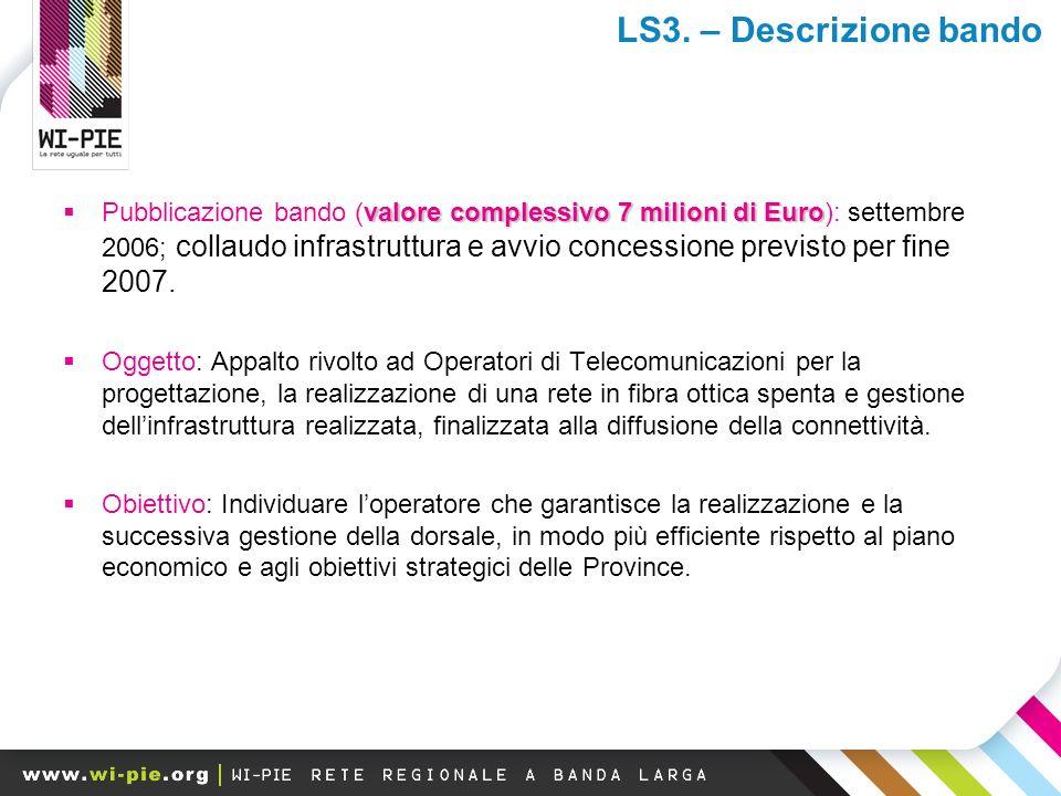 valore complessivo 7 milioni di Euro Pubblicazione bando (valore complessivo 7 milioni di Euro): settembre 2006; collaudo infrastruttura e avvio concessione previsto per fine 2007.