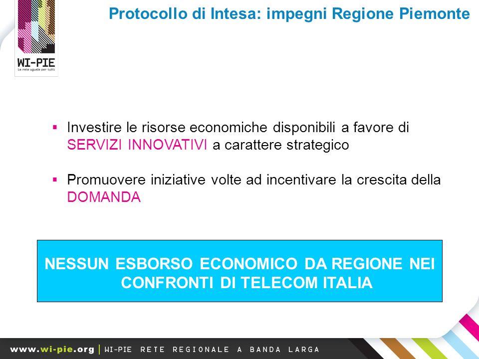Investire le risorse economiche disponibili a favore di SERVIZI INNOVATIVI a carattere strategico Promuovere iniziative volte ad incentivare la crescita della DOMANDA NESSUN ESBORSO ECONOMICO DA REGIONE NEI CONFRONTI DI TELECOM ITALIA Protocollo di Intesa: impegni Regione Piemonte