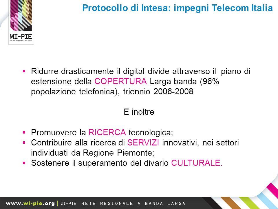 Ridurre drasticamente il digital divide attraverso il piano di estensione della COPERTURA Larga banda (96% popolazione telefonica), triennio 2006-2008 E inoltre Promuovere la RICERCA tecnologica; Contribuire alla ricerca di SERVIZI innovativi, nei settori individuati da Regione Piemonte; Sostenere il superamento del divario CULTURALE.