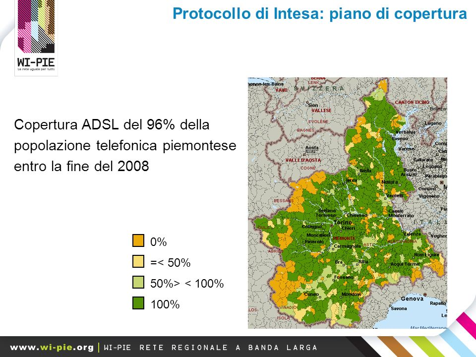 0% =< 50% 50%> < 100% 100% Copertura ADSL del 96% della popolazione telefonica piemontese entro la fine del 2008 Protocollo di Intesa: piano di copertura