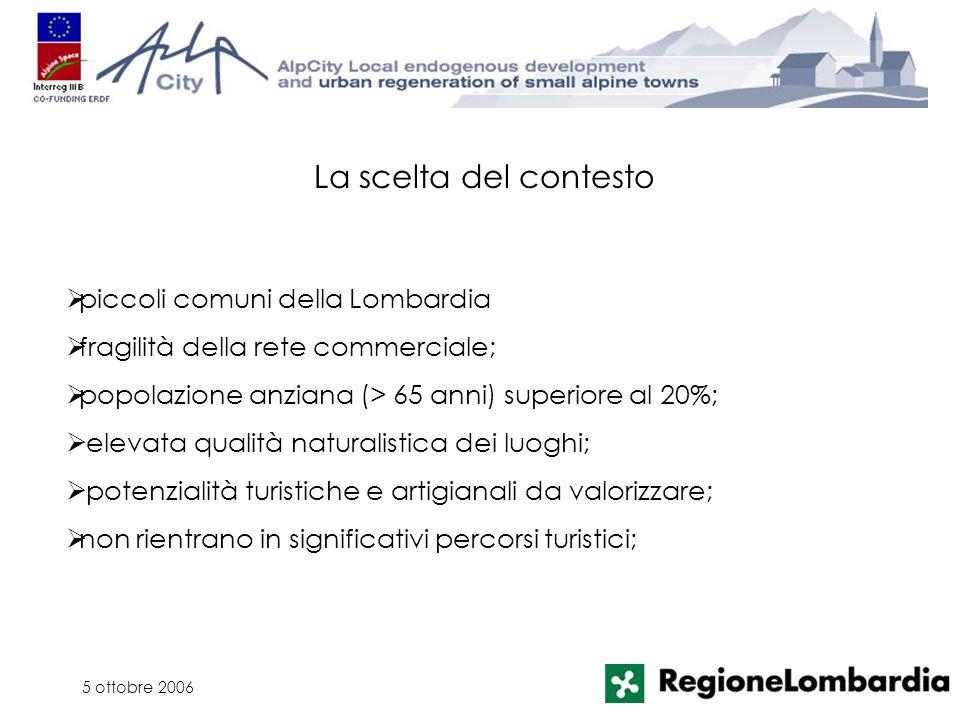5 ottobre 2006 piccoli comuni della Lombardia fragilità della rete commerciale; popolazione anziana (> 65 anni) superiore al 20%; elevata qualità naturalistica dei luoghi; potenzialità turistiche e artigianali da valorizzare; non rientrano in significativi percorsi turistici; La scelta del contesto