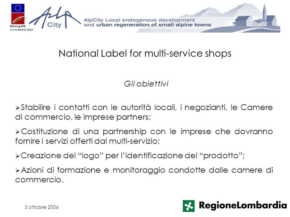 5 ottobre 2006 Stabilire i contatti con le autorità locali, i negozianti, le Camere di commercio, le imprese partners; Costituzione di una partnership